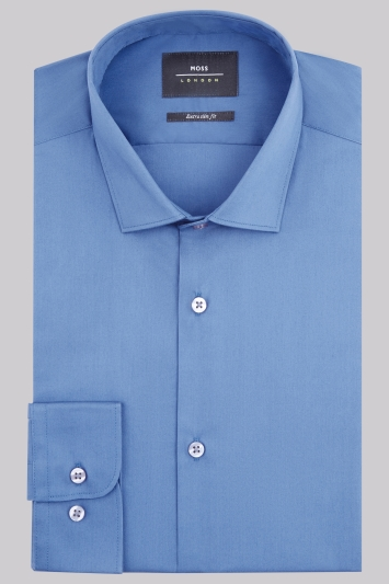 Moss London Extra Slim Fit Blue Single Cuff Stretch Shirt