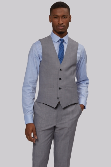 French Connection Slim Fit Silver Waistcoat