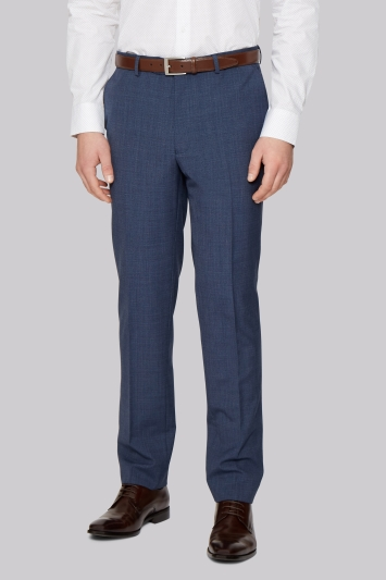 French Connection Slim Fit Blue Textured Trousers