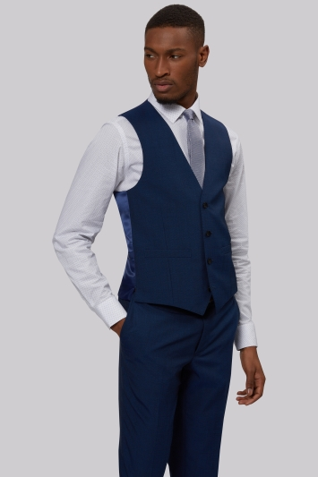 French Connection Slim Fit Blue Waistcoat