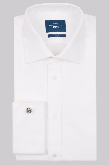 Moss 1851 Slim Fit White Double Cuff Shirt