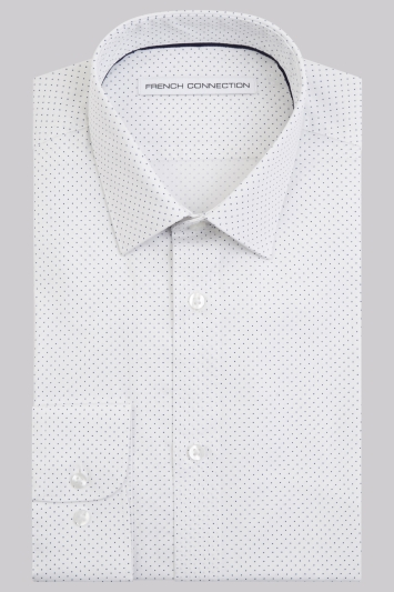 French Connection Slim Fit Navy Single Cuff Spot Shirt