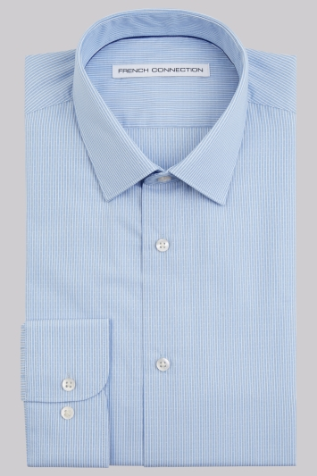 French Connection Slim Fit Sky Single Cuff Textured Stripe Shirt