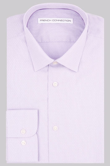 French Connection Slim Fit Lilac Single Cuff Textured Mini Gingham Shirt