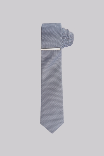 DKNY Light Grey Textured Silk Skinny Tie and Tie Bar