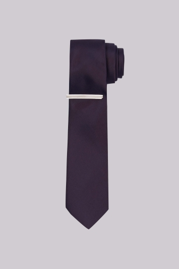 DKNY Aubergine Satin Skinny Tie With Tie Pin