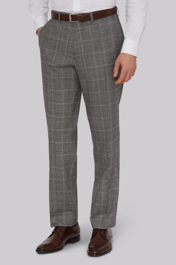 Savoy Taylors Guild Regular Fit Black and White Check Trousers