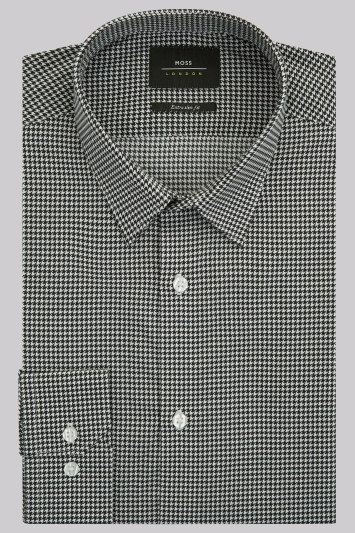 Moss London Extra Slim Fit Black and White Single Cuff Puppytooth Shirt