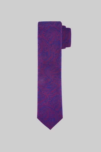 Moss London Premium Blue and Red Paisley Silk Skinny Tie
