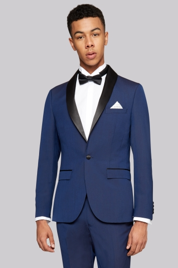 Moss London Skinny Fit Blue Tuxedo Jacket