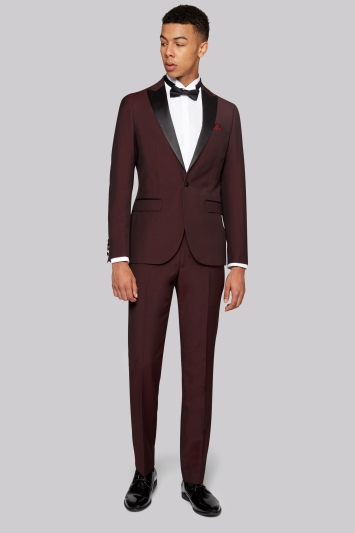 Moss London Skinny Fit Claret Tuxedo Jacket