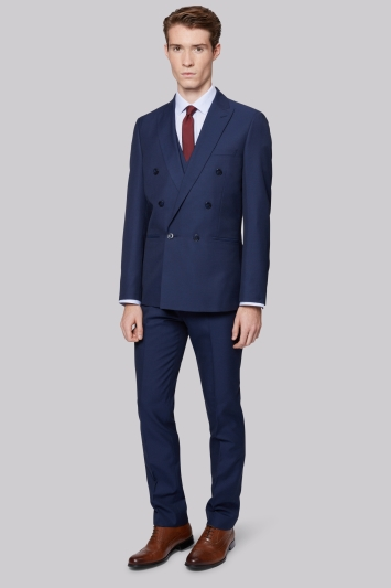 Moss London Skinny Fit Blue Sharkskin Double Breasted Jacket