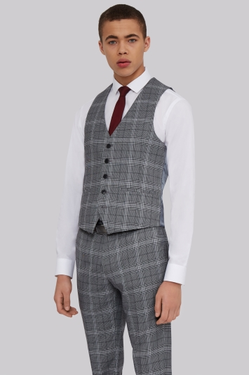 Moss London Skinny Fit Grey Bold Prince Of Wales Check Waistcoat
