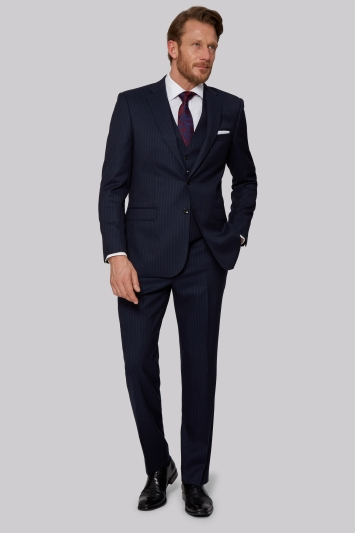 Savoy Taylors Guild Regular Fit Navy Chalk Stripe Jacket