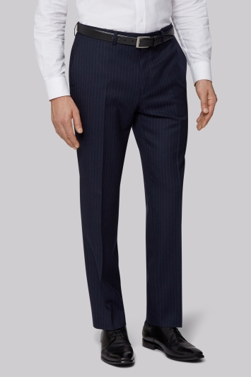 Savoy Taylors Guild Regular Fit Navy Chalk Stripe Trousers