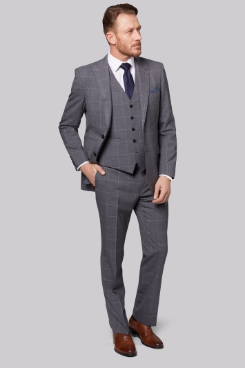 Savoy Taylors Guild Regular Fit Grey Windowpane Jacket