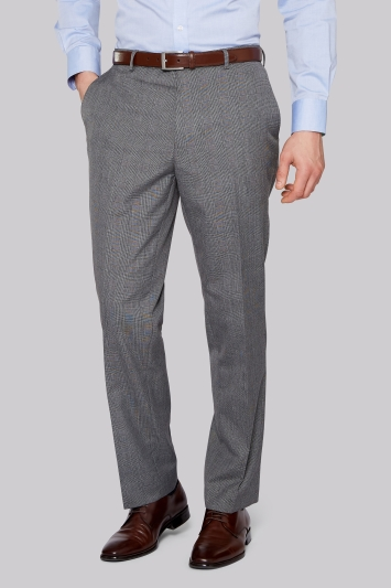 Moss Esq. Regular Fit Light Grey Check Trousers