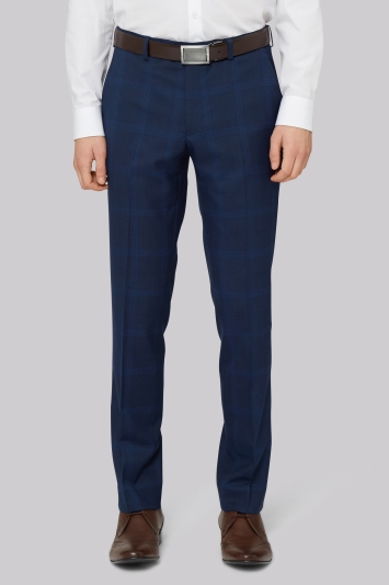 Moss London Skinny Fit Bright Blue Check Trousers