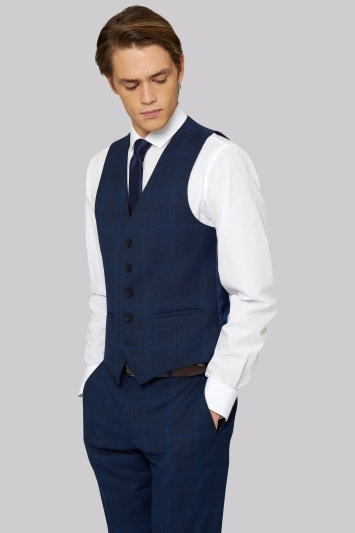 Moss London Skinny Fit Bright Blue Check Waistcoat