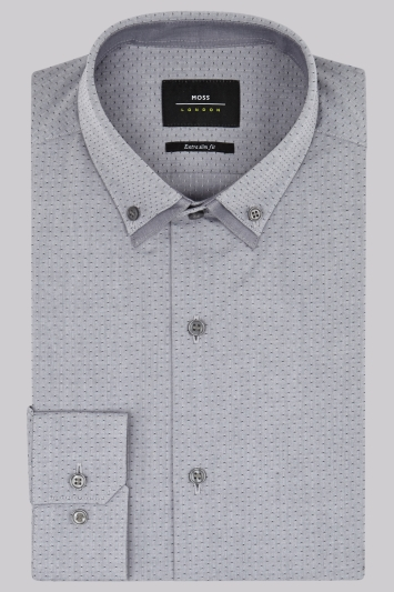Moss London Extra Slim Fit Grey Double Collar Textured Shirt