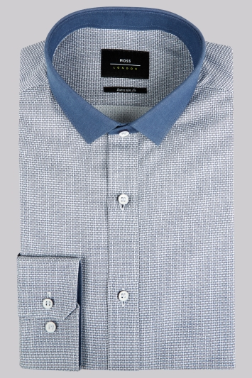 Moss London Extra Slim Fit Navy Single Cuff Contrast Collar Textured Shirt