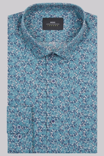 Moss London Extra Slim Fit Teal Single Cuff Floral Shirt
