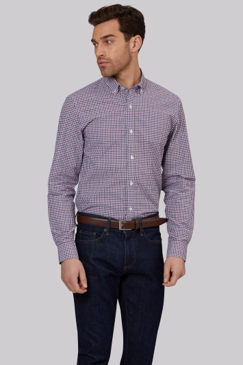 Moss 1851 Slim Fit Wine Button Down Check Casual Shirt