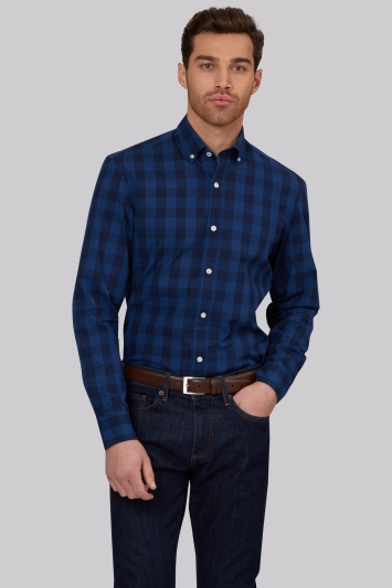 Moss 1851 Slim Fit Navy Button Down Check Casual Shirt