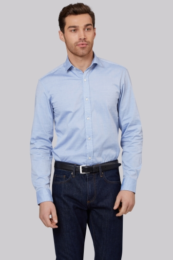 Moss 1851 Slim Fit Blue Oxford Texture Casual Shirt