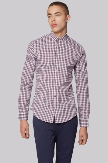 Moss London Extra Slim Fit Wine Button Down Gingham Casual Shirt