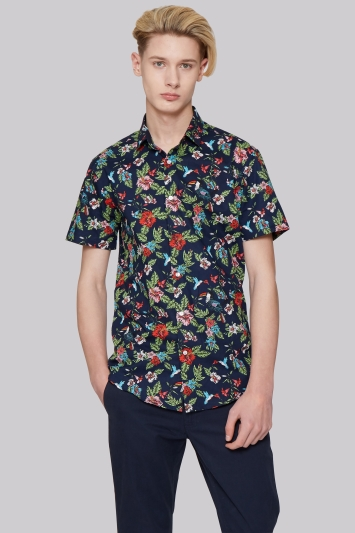 Moss London Extra Slim Fit Short Sleeve Paradise Print Casual Shirt