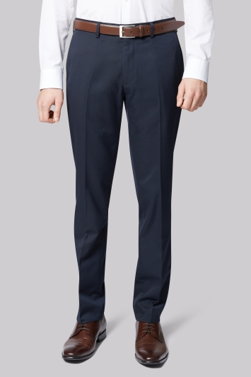Moss London Slim Fit Machine Washable Navy Trousers