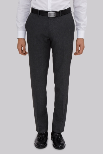 Moss London Slim Fit Machine Washable Grey Semi Plain Trousers