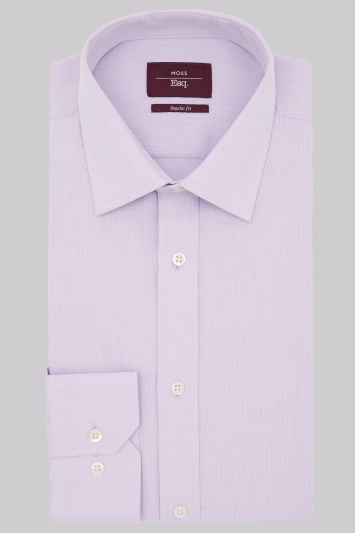 Moss Esq. Regular Fit Lilac Single Cuff Textured Shirt