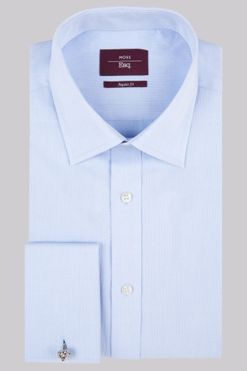 Moss Esq. Regular Fit Sky Double Cuff Textured Shirt