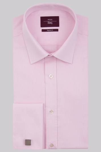 Moss Esq, Regular Fit Pink Double Cuff Textured Shirt