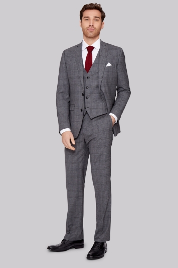 Moss 1851 Italian Tailored Fit Grey Prince of Wales Check Jacket