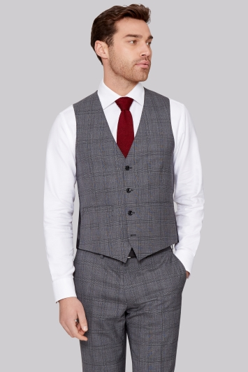 Moss 1851 Tailored Fit Italian Grey Prince of Wales Check Waistcoat