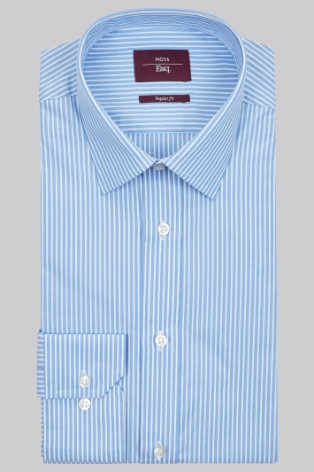 Moss Esq. Regular Fit Blue Single Cuff Butchers Stripe Shirt