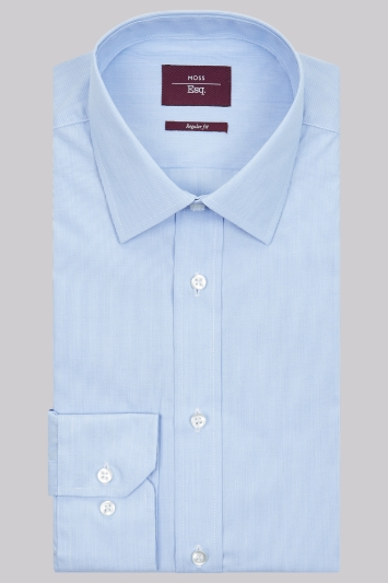 Moss Esq. Regular Fit Sky Single Cuff Hairline Stripe Shirt
