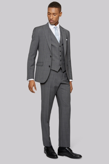 DKNY Slim Fit Light Grey Prince of Wales Check Jacket