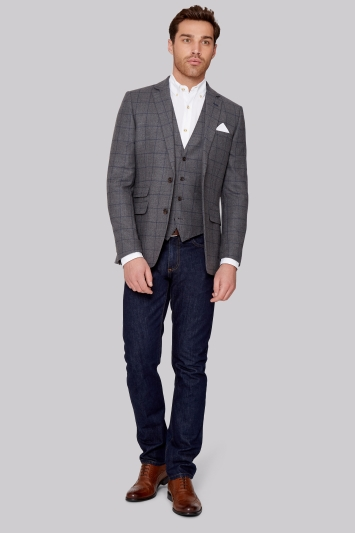 Moss 1851 Tailored Fit Grey with Navy Windowpane Jacket