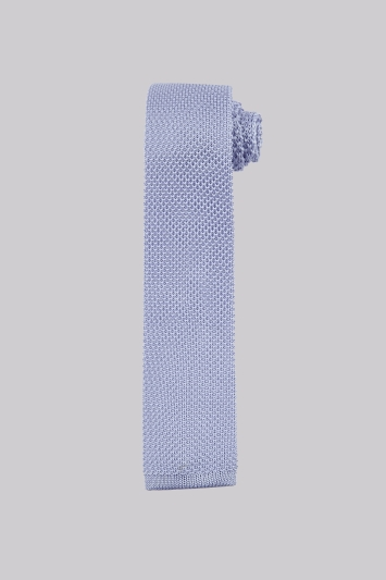 Moss London Sky Blue Knit Skinny Tie