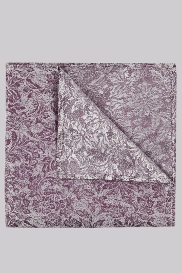 Moss London Purple & Grey Floral Pocket Square