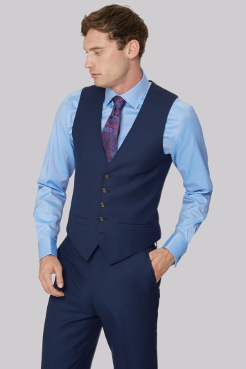 Ted Baker Gold Tailored Fit Navy Two Tone Waistcoat