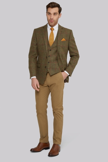 Moss 1851 Tailored Fit British Wool Tan Red Windowpane Jacket