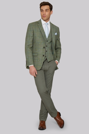 Moss 1851 Tailored Fit British Wool Green Multicheck Jacket