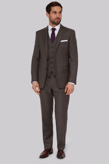 Savoy Taylors Guild Regular Fit Neutral Sharkskin Jacket