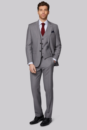 Moss 1851 Tailored Fit Silver Grey Pindot Jacket