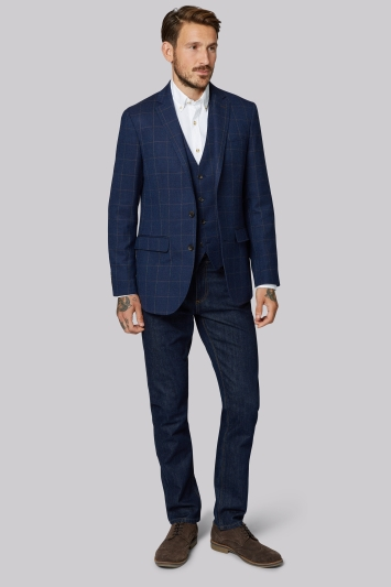 Moss 1851 Tailored Fit Navy Chocolate Hopsack Jacket